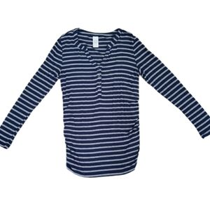 Time and Tru Maternity Blue & Grey Henley